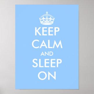 Keep calm and sleep on | Baby blue nursery poster