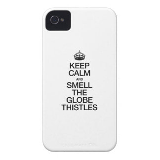KEEP CALM AND SMELL THE GLOBE THISTLES iPhone 4 COVERS
