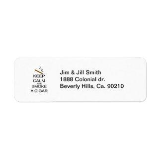 Keep Calm And Smoke A Cigar Return Address Label