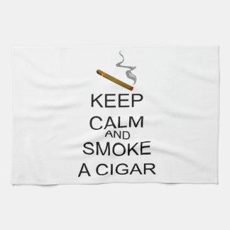 Keep Calm And Smoke A Cigar Tea Towel