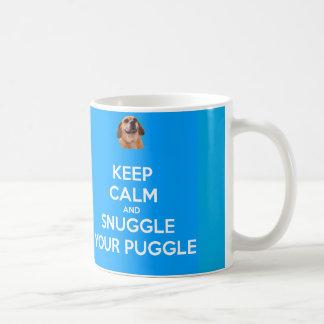 Keep Calm and Snuggle Your Puggle MUG - Blue