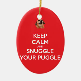 Keep Calm and Snuggle Your Puggle ORNAMENT - Red