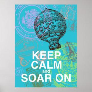 Keep Calm and Soar On fun art poster