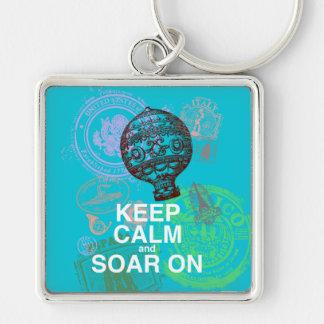 Keep Calm and Soar On fun art print Keychain