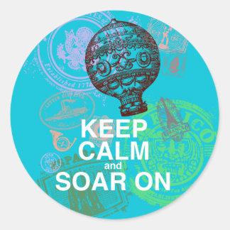 Keep Calm and Soar On fun art print Round Sticker