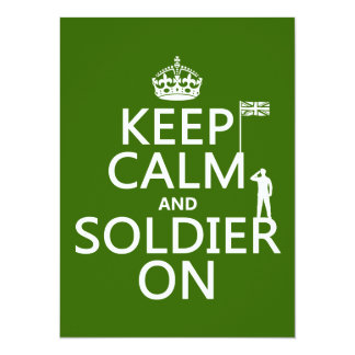 Keep Calm and Soldier On (UK flag)(any color) 14 Cm X 19 Cm Invitation Card