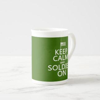 Keep Calm and Soldier On (US flag) (any color) Bone China Mug