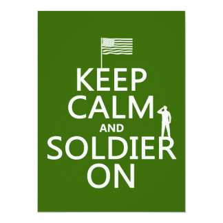 Keep Calm and Soldier On (US flag) (any color) 14 Cm X 19 Cm Invitation Card