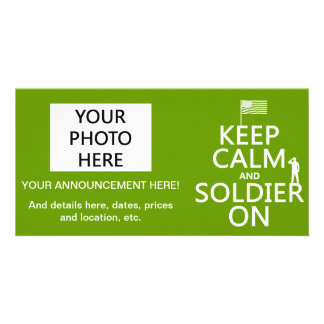 Keep Calm and Soldier On US flag any color Photo Card Template