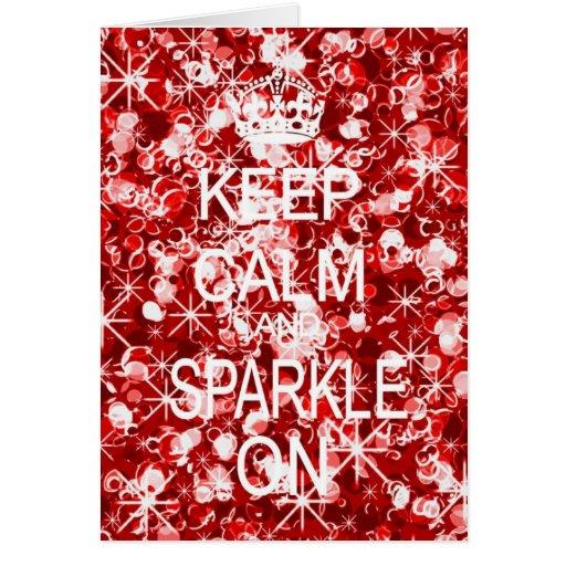 Keep Calm and Sparkle glitz red Christmas card