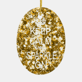 Keep calm and sparkle gold christmas ornament
