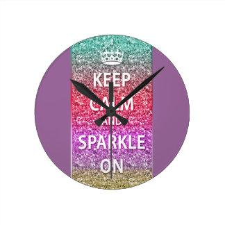 Keep Calm and Sparkle On Glitter Clocks