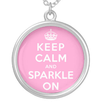 Keep Calm and Sparkle On Round Pendant Necklace