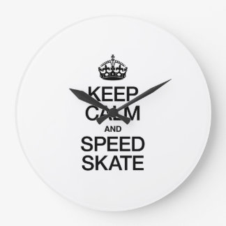 KEEP CALM AND SPEED SKATE LARGE CLOCK