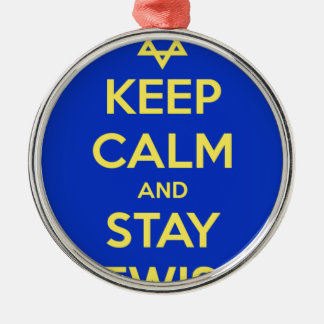 Keep Calm and Stay Jewish Silver-Colored Round Decoration