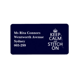 Keep Calm and Stitch On (all colors) Address Label