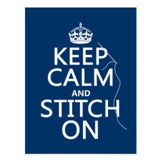 Keep Calm and Stitch On all colors Postcards