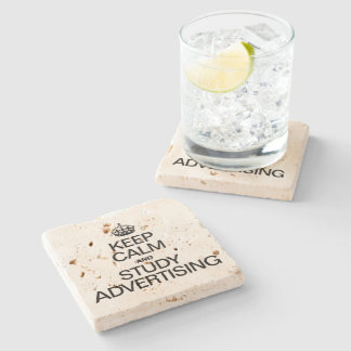 KEEP CALM AND STUDY ADVERTISING STONE BEVERAGE COASTER