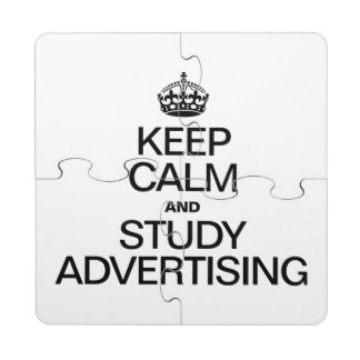 KEEP CALM AND STUDY ADVERTISING PUZZLE COASTER