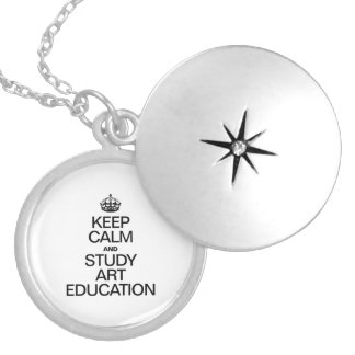 KEEP CALM AND STUDY ART EDUCATION ROUND LOCKET NECKLACE
