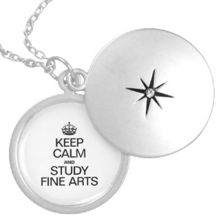 KEEP CALM AND STUDY FINE ARTS ROUND LOCKET NECKLACE