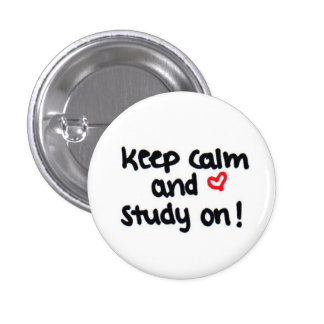 keep calm and study on 3 cm round badge