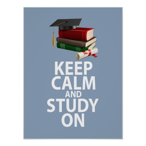 Keep Calm And Study On Unique Poster Print Design Zazzle