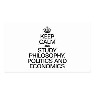KEEP CALM AND STUDY PHILOSOPHY POLITICS AND ECONOM BUSINESS CARD