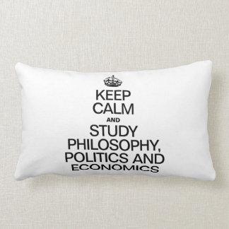 KEEP CALM AND STUDY PHILOSOPHY POLITICS AND ECONOM PILLOW