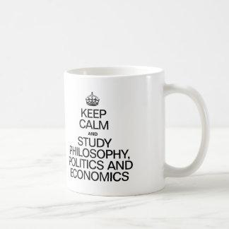 KEEP CALM AND STUDY PHILOSOPHY POLITICS AND ECONOM MUGS