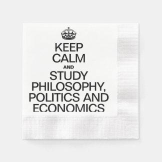 KEEP CALM AND STUDY PHILOSOPHY POLITICS AND ECONOM PAPER SERVIETTES