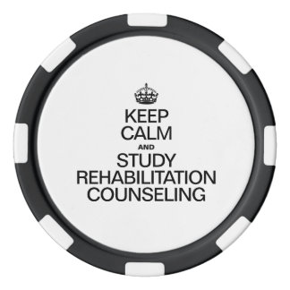 KEEP CALM AND STUDY REHABILITATION COUNSELING POKER CHIP SET