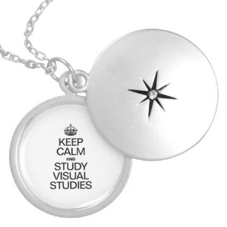 KEEP CALM AND STUDY VISUAL STUDIES ROUND LOCKET NECKLACE