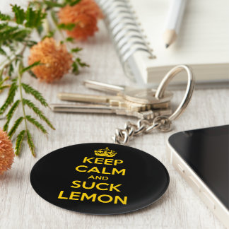 Keep calm and suck lemon basic round button key ring