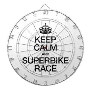 KEEP CALM AND SUPERBIKE RACE DART BOARD