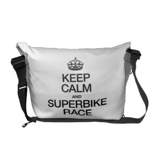 KEEP CALM AND SUPERBIKE RACE MESSENGER BAGS