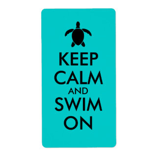 Keep Calm and Swim On Honu Sea Turtle Custom Shipping Label