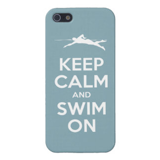 Keep Calm and Swim On (light blue) iPhone 5/5S Case