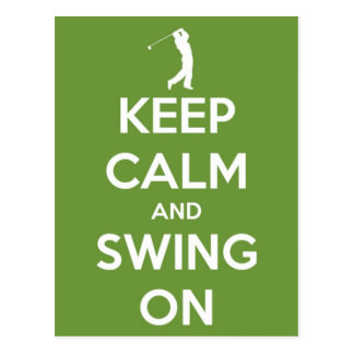 Keep Calm and Swing On Green Post Card