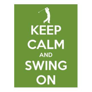 Keep Calm and Swing On Green Postcard