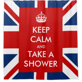 Keep Calm and Take A Shower and UK Flag Union Jack Shower Curtain