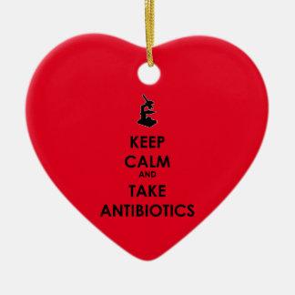 Keep Calm and Take Antibiotics Ceramic Heart Decoration