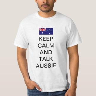 Keep calm and talk aussie tee shirt