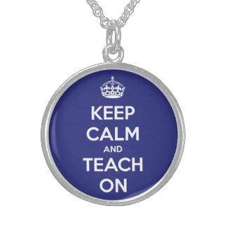 Keep Calm and Teach On Blue and White Round Pendant Necklace