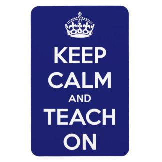 Keep Calm and Teach On Blue Rectangular Photo Magnet