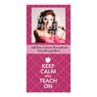 Keep Calm and Teach On, Pink Plaid Photo Cards