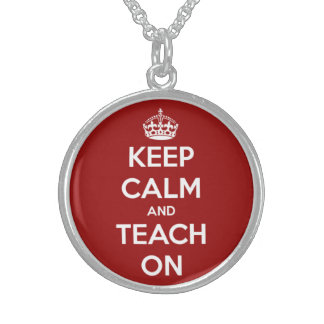 Keep Calm and Teach On Red and White Sterling Silver Necklaces