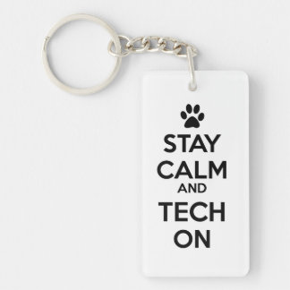 keep calm and tech on keychain
