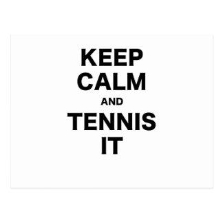 Keep Calm and Tennis It Postcard