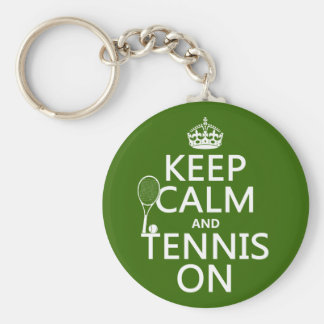 Keep Calm and Tennis On (any background color) Basic Round Button Key Ring